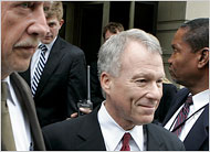 Libby leaves the courtroom…half smiling? Photo courtesy of the NYTimes